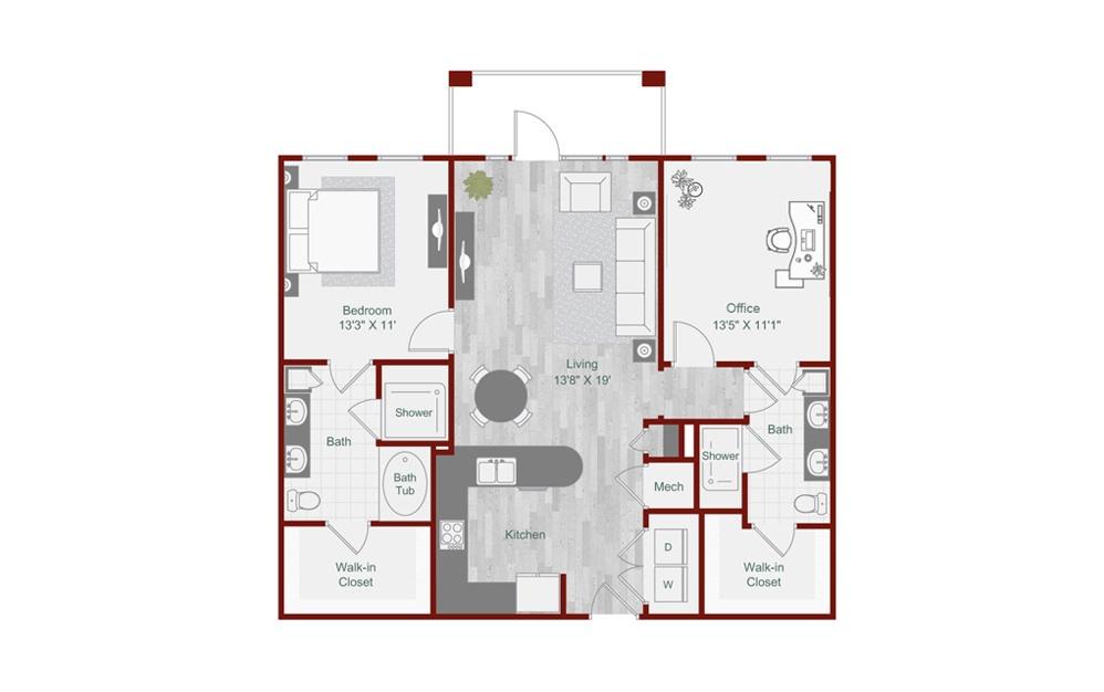 B1-2 2 Bed Floorplan